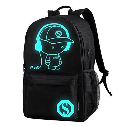C 'est cool Jungen Schule Rucksack Luminous Schultasche Music Boy Oxford Schule Tasche mit Reißverschluss + 1Diebstahlschutz Lock, School Bags, schwarz (Bag 2 School)