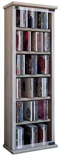"""VCM 21029 Regal DVD CD Rack Medienregal Medienschrank Aufbewahrung Holzregal Standregal Möbel Schrank Möbel """"Classic"""",Sonoma-Eiche (Sägerau)"""