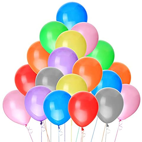 NUOLUX 100pcs Latex Balloons 12 Inch Assorted Bright Random Color