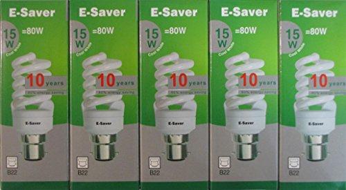 E-saver- es 5p 15co, Bajonettsockel B22d, 15 W, kompakt, fluoreszierendes Licht, Energiesparlampe