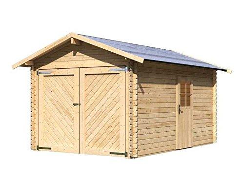 Karibu Aktionsgarage 28 mm Satteldach Außenmaß (B x T): 297 x 447 cm Dachstand (B x T): 338 x 489 cm Wandstärke: 28 mm umbauter Raum: 28,7 cbm Bauweise: Blockbohlenbauweise Ausführung: naturbelassen