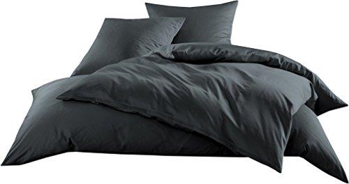 Mako-Satin Baumwollsatin Bettwäsche Uni einfarbig zum Kombinieren (Bettbezug 200 cm x 220 cm, Anthrazit)