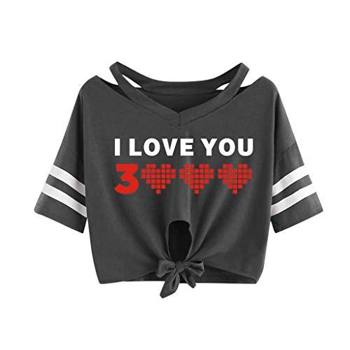 KIMODO T Shirt Damen I Love You 3000 Times Drucken Bluse Sommer Kurzarm Locker Lässig Top mit V-Ausschnitt Bogen-Knoten-Verband Oberteile Shirt (Frauen Tall Jeans Größe 18)
