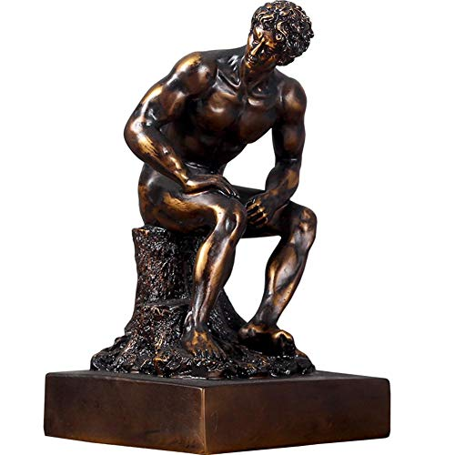 Die Denkerskulptur, Rodin Kunstskulptur Man Statue Cold Cast Bronze Statue des Denkers Büro Dekoration Handwerk -