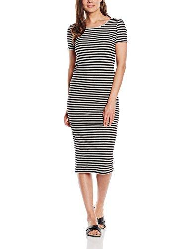 ONLY Damen Kleid 15112079, Maxi, Gestreift, Gr. 38 (Herstellergröße: M), Mehrfarbig (Stripes:BLACK AND LGM)