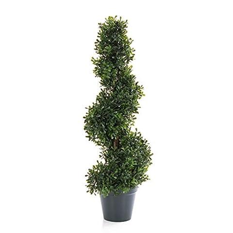 Set aus 2 x Künstliche Buchs Spirale FRITZ, 452 Blätter, 60cm, outdoor - künstliche Buchsbaum Spirale Buxspirale -