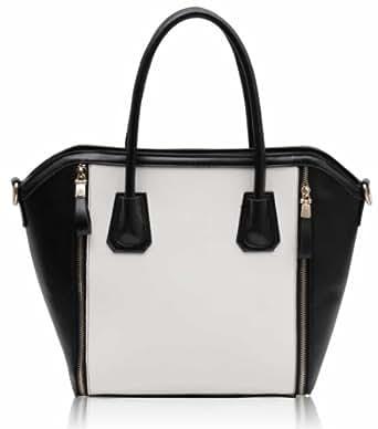 Damen schwarz weiß Zip Design Tasche Leder Stil Handtasche KCMODE