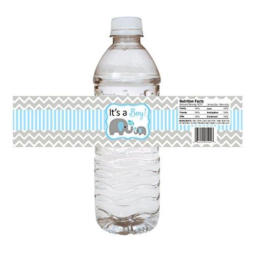 Adorebynat Party Decorations - EU Flasche Etiketten Baby-Elefant Wasser - Babyparty-Party-Getränk-Aufkleber - Satz von 10