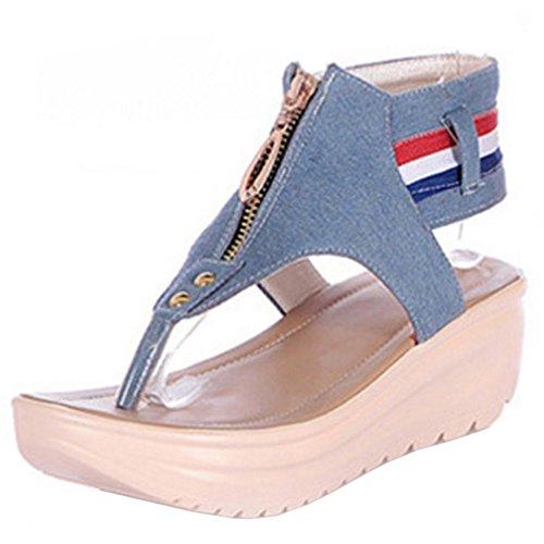 TAOFFEN Femmes Mode Clip Toe Sandales Compenses Plateforme Sangle De Cheville Chaussures De Fermeture Eclair Bleu Clair