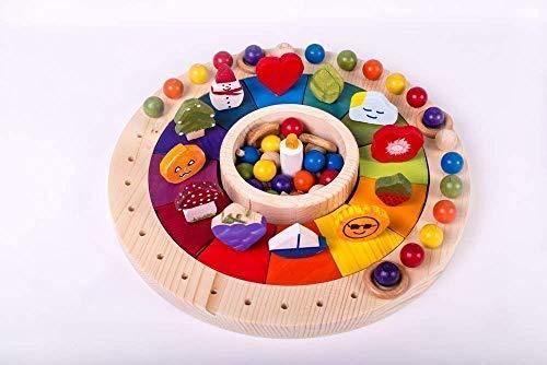 Calendario Legno Bambini.Calendario Waldorf Montessori In Legno 33 Cm Per Bambini Gioco Educativo