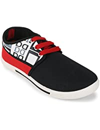 Scantia Casual Canvas Shoes For Men's _Colour_ Black & Red _ with Latest Fashionable Trail stylish look _(Hurry Bumper Valentine Offer on Scantia Collection)
