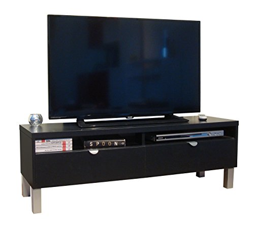 Berlioz Creations geheimen Passage TV-Bank Holz schwarz 118x 34x 39cm - Schwarze Satin-holz Standfüße
