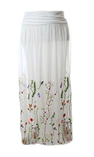 Moda Italy romantischer langer Rock mit Blüten Stickereien aus SEIDE Weiß