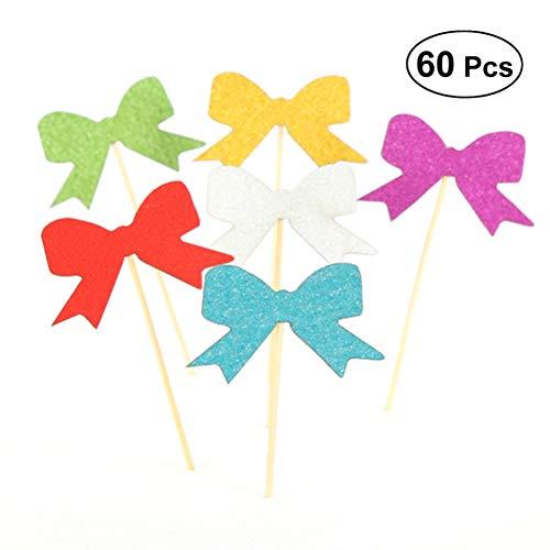 bestonzon 60PCS Kuchen Topper-Stiftbox Cute Cupcake Dekoration Kuchen Picks für Kinder Baby Dusche Geburtstag Party (unterschiedliche Farbe)