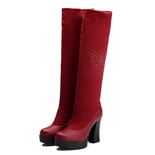AllhqFashion Damen Blend-Materialien Hoch-Spitze Eingelegt Ziehen Auf Hoher Absatz Stiefel Rot
