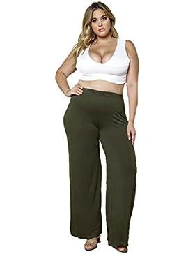 YAANCUN Mujer 2017 Color Sólido Hacer Punto Pantalones Sueltos De La Pierna Ancha