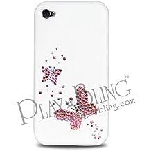 Play Bling 11466 Butterfly Twins Series - Carcasa para iPhone 4 Case, diseño de mariposas con cristales de Swarovski