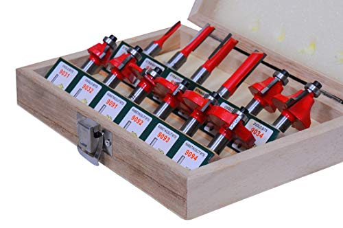 Jon Bhandari Tools 12pcs Premium Router Bit Set Classic 8mm with Wooden Box Specially Designed for Wood Working