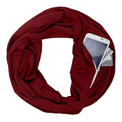 Gaddrt Schal Unisex Lovers Winter Solide Warm Loop Schal Reißverschluss Secret Pocket Schal Ring 180cmX50CM (Wein)