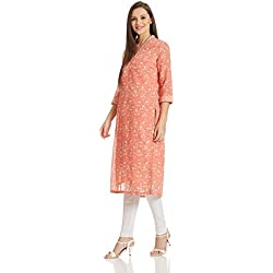 BIBA Women's Straight Kurta (TREE OF 12316_pink_42)
