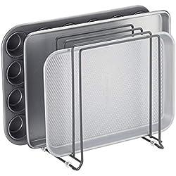 mDesign égouttoir en métal pour casseroles, poêles, plaques de pâtisserie etc. - support à ustensiles de cuisine compact pour placard de cuisine - rangement cuisine peu encombrant - gris foncé