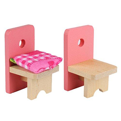 Andux Zone Dollhouse Miniature Furniture per cameretta Mobili in legno rosa MNJJ-02 sala da pranzo