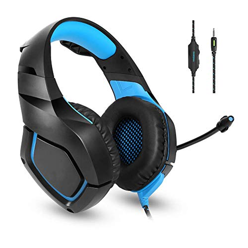 Zixin PS4 Gaming Headset - Wired Headset, Head-Mounted Glow-Spiel-Kopfhörer mit drehbarem Noise Reduction Mic for PS4, Nintendo Switch, Xbox One, PC, Laptop, Mac, Smartphone