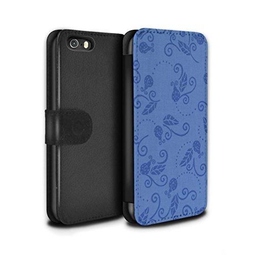Stuff4 Coque/Etui/Housse Cuir PU Case/Cover pour Apple iPhone 5/5S / Pourpre Design / Motif Coccinelle Collection Bleu