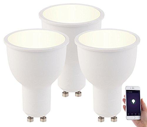 Luminea Leuchtmittel LED: 3er-Set WLAN-LED-Lampen GU10, komp. mit Alexa, warmweiß, 4,5 Watt, A+ (Dimmbarer LED Spot)