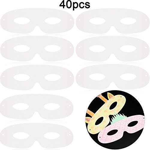 Gestanzte Karneval Maske Karneval Papier Weiße Masken, Papier Augenmasken, Schlichte Maskerade DIY Maske (40 Packungen)