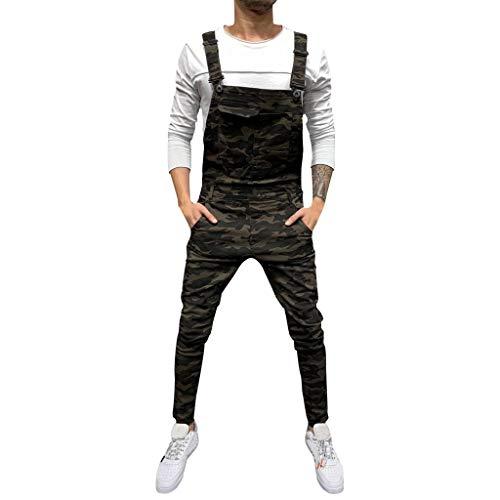 BHYDRY Herrentaschenjeans Overall Jumpsuit Streetwear Overall Hosenträgerhose(X-Large,Kaffee) (Wallet Satin-long)