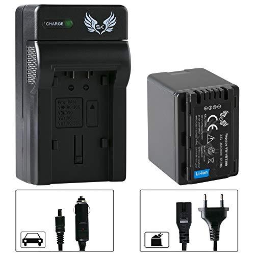SK Akku Panasonic VW-VBT380 3560 mAh & Ladegerät für Panasonic HC-V550 V777 VX989 VXF999 WX979 HDC-H100 S71 TM90 und weitere Sdr-t70-camcorder-batterie