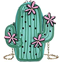 ea54f175705a8 Beafavor Kreative Nette Kaktus geformte kleine Tasche PU-Leder  Reißverschluss Umhängetasche Tasche Handtasche Mappen-