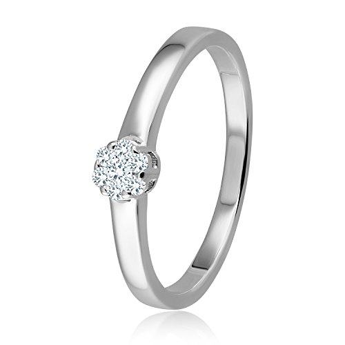 Diamond Line Diamant-Ring Damen 585 Weißgold mit 7 Brillianten 0.10 ct. Lupenrein