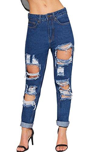 WEARALL - Damen Extrem Zerrissene Bekümmert Breite Bein Mom Jeans Damen Tasche Hoch Tailliert - Indigo - 36 (Front-pocket Jeans)
