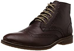 Bata Mens Downey Brown Leather Boots - 8 UK/India (42 EU) (8054113)