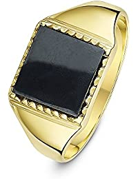 Theia Men's 9 ct Yellow Gold, Square Shape Onyx or Hematite Stone Signet Ring, set with 10 x 10 mm