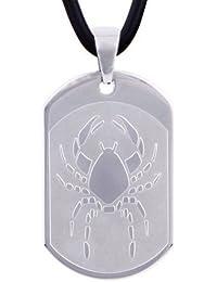 DonDon 50 cm Kautschuk Halskette mit Edelstahl Sternzeichen Krebs Anhänger in schwarzem Samtbeutel