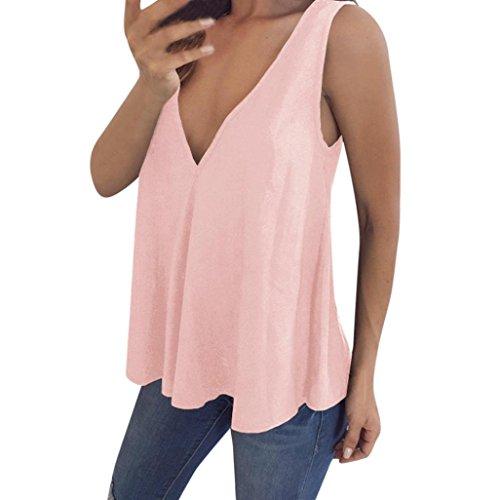 JUTOO Plus Size Damen V-Ausschnitt Tank T-Shirt Weste Bluse(Pink,EU:42/CN:L)