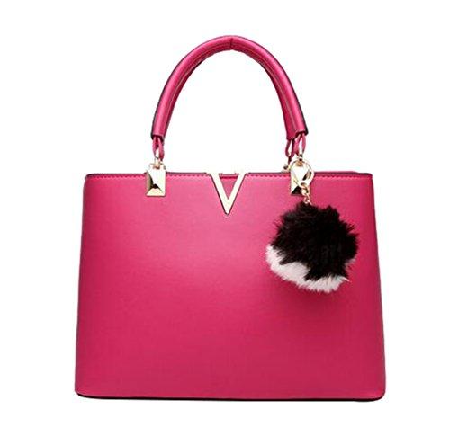 YAANCUN Donna Borse Tote Shopping Pelle Sintetica Borse A Tracolla Rosa
