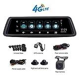 MYZZ 10 Pouces WiFi Dash cam, 4G Plein Écran Tactile Flux Multimédia 360 Degrés...