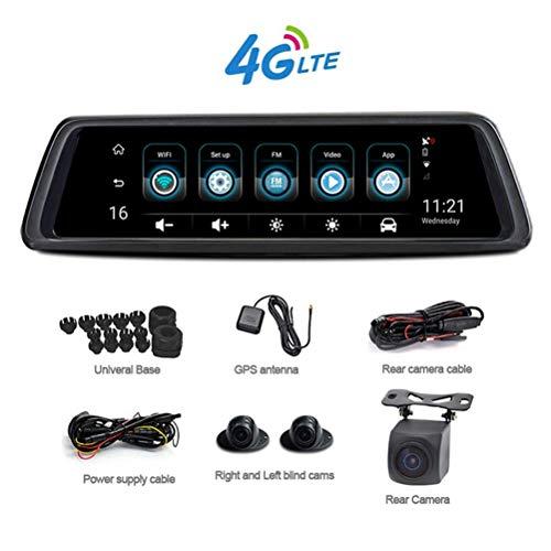 MYZZ 10 Zoll WiFi Dash Cam, 4G Vollbild Tactile Stream Multimedia 360 Grad Panorama Auto Rückansicht Dvr Kamera mit 4 Aufnahmekamera ohne Tote Enden -