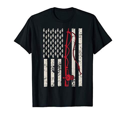 Fischen patriotisches USA-Flaggen-Bass-Fischer-T-Shirt - Bass-fischen-shirt