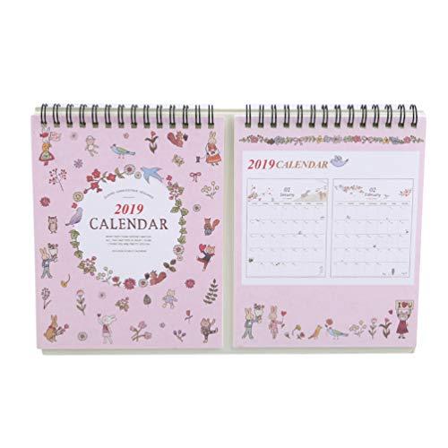 KYMLL Desktop Kalender und Planer Home Sweet Slim Tischkalender im Staffelei-Format Muster Täglicher Zeitplan Tischplaner Pink (Mit Desktop-kalender Staffelei)