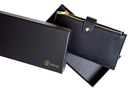 QASGO Portafoglio Donna Grande, Porta Carte Di Credito Donna e Banconote Elegante Rigido Con 2 Cerniere, Tasche Cellulare Blocco RFID (Nero), Idea Regalo Donna
