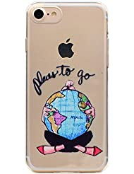 iPhone 7 Coque, iPhone 7 Housse, iPhone 7 Etui,BONROY® Série d'été Ultra-Mince Thin Soft Silicone Etui de Protection pour Souple Gel TPU Bumper Poussiere Resistance Anti-Scratch Case Cover Couverture Pour iPhone 7 - monde
