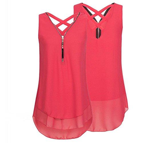 OSYARD Damen Sommer Lose Solide Ärmellose Mode Tank Top Reißverschluss V-Ausschnitt Chiffon T-Shirts Tops(EU 42/XL, Rot)