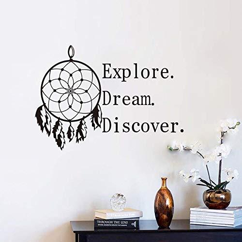 Wandaufkleber Entdecken Sie Traum Entdecken Sie Motivation Zitate Wandaufkleber PVC Wasserdichte Tapete Wohnkultur Wohnzimmer Dreamcatcher Wandtattoos 83x59 cm