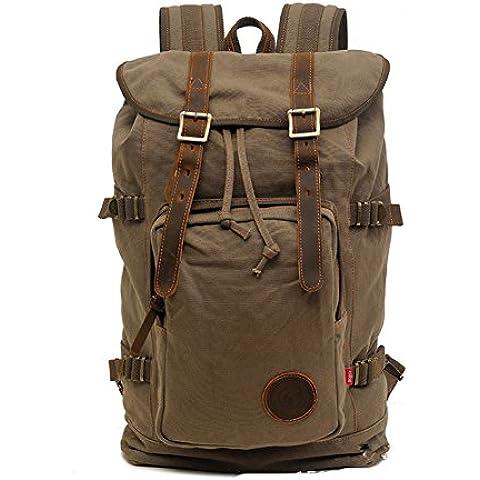 Sechunk Cotton militare multifunzione Vintage Canvas backpack la cartella Cartella Laptop bag borsa da viaggio Borsone escursionismo sacchetto di campeggio del sacchetto Zaino Computer borsa sportiva