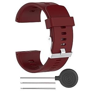 Correa polar v800 Correa de silicona ajustable de repuesto Rejoicing, para reloj inteligente Polar V800 con herramienta (reloj no incluido), Rojo Oscuro